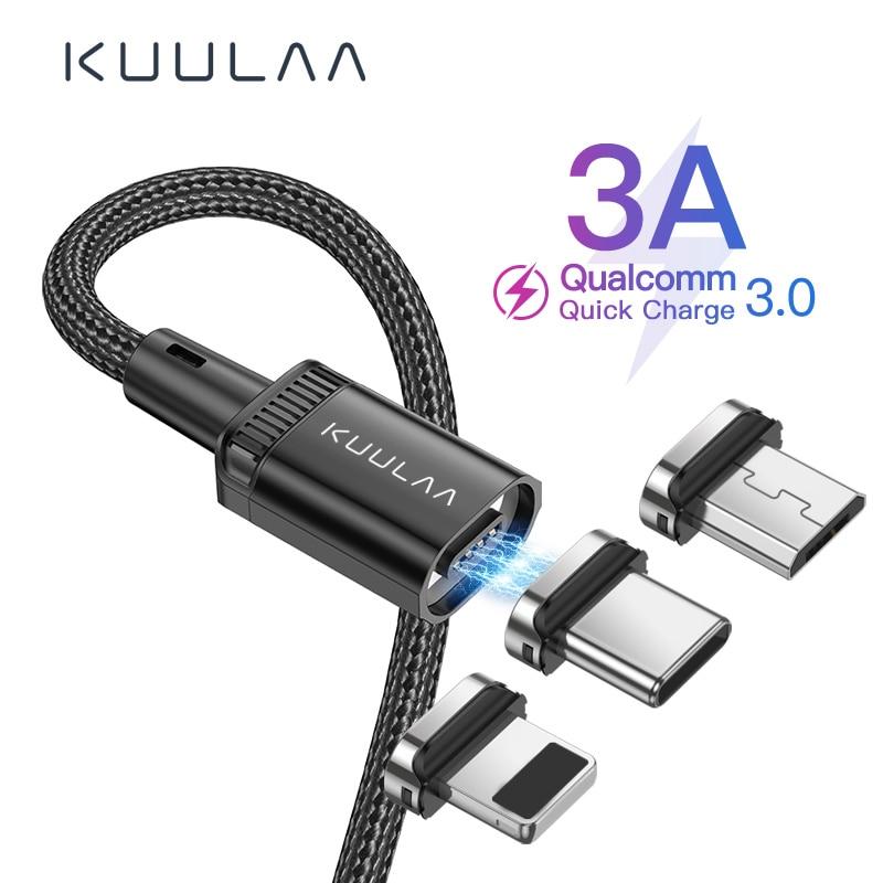 Магнитный зарядный кабель KUULAA для быстрой зарядки, кабель USB Type C, магнитный Кабель Micro USB для зарядки данных, кабель для телефона для iPhone, USB шнур|Кабели для мобильных телефонов|   | АлиЭкспресс - 11/11 AliExpress
