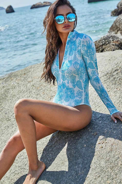 High-Molecular Lengan Panjang Olahraga One-Piece Swimsuit Konservatif Slim Surfing Swimwear Fashion Kasual Ukuran Besar bikini
