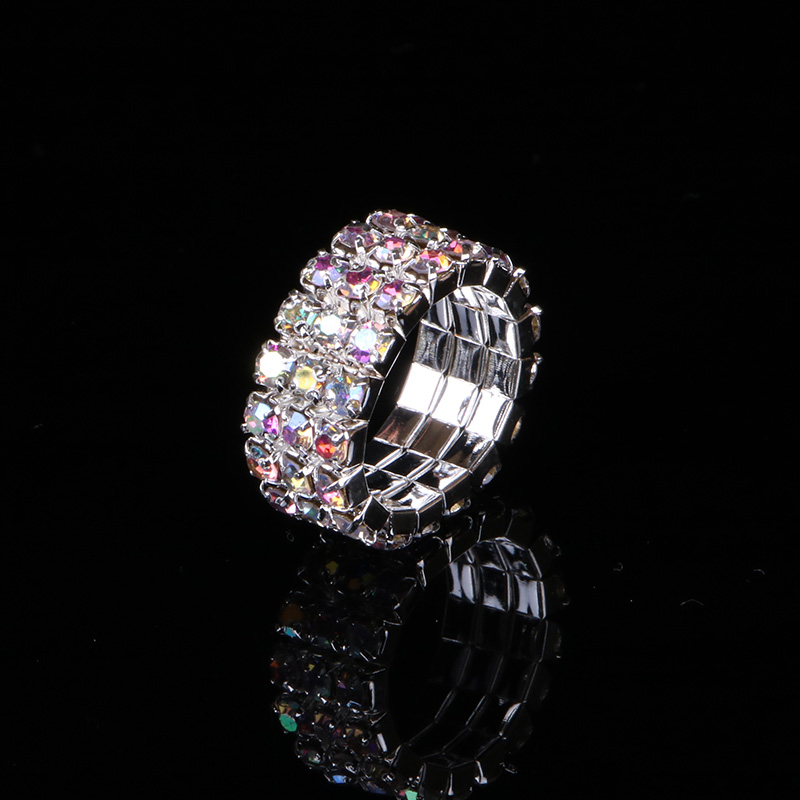 TDQUEEN 1 5 Rows AB Crystal Stone Rings Silver Plated Bridal Wedding Rhinestone Elastic Stretch Rings for Women in Wedding Bands from Jewelry Accessories