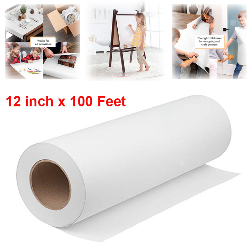 12inch 100 Feet White Drawing Paper Roll Kraft Paper Rolls For Kid Craft Activity And Painting Art Watercolor Paper