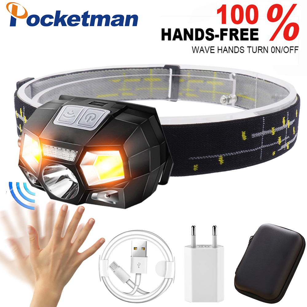 3200 Lumen LED Headlamp Motion Sensor Ultra Bright Hard Hat Head Lamp Powerful Headlight USB Rechargeable Waterproof Flashlight