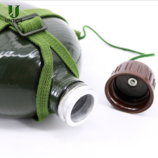 UNTIOR Aluminum Military Army Flask Wine Water Bottle Cooking Cup With Shoulder Strap Hiking Kettle Outdoor Tools 1L/2L 3