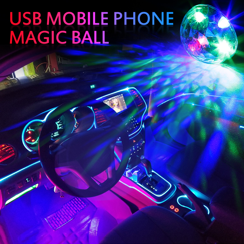 New LED USB Car Atmosphere Light DJ RGB Mini Colorful Music Sound Control Lamp Interior Car Decorative Lamp Ambient Light