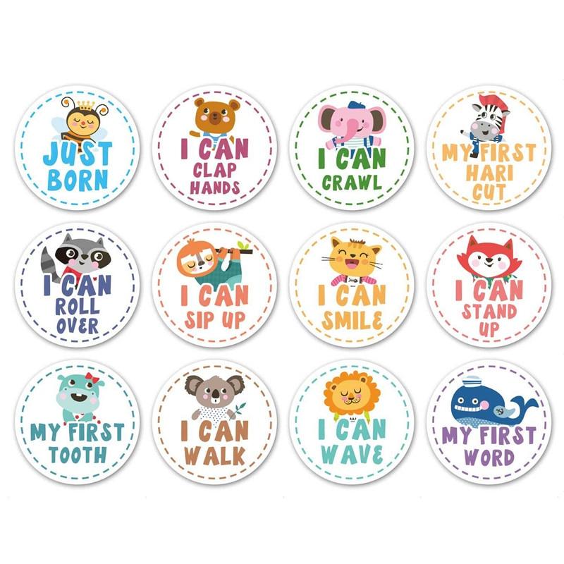 12Pcs/Set Baby Month Sticker Studio Home Newborn Milestone Memories Monthly Souvenirs Photography Photo Props Commemorative Card