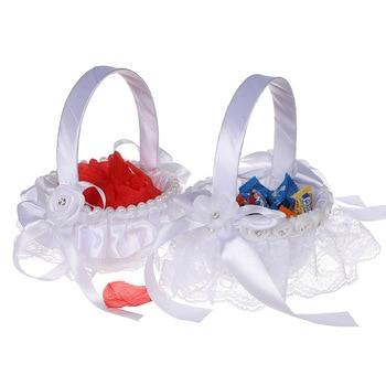 1 Piece Portable Mini Lace Flower Basket Candy Petal Storage Container Wedding Party Banquet Decorative Supplies