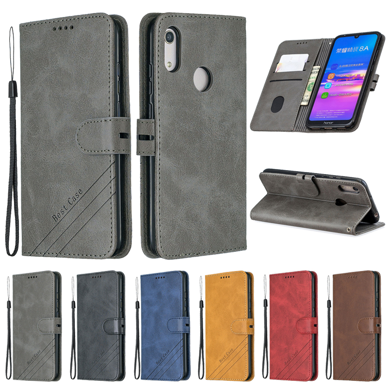 Huawei Honor 8A Case Honor 8a Leather Flip Case on for Coque Huawei Honor 8A 8 A JAT-LX1 Phone Case Luxury Magnetic Wallet Cover image