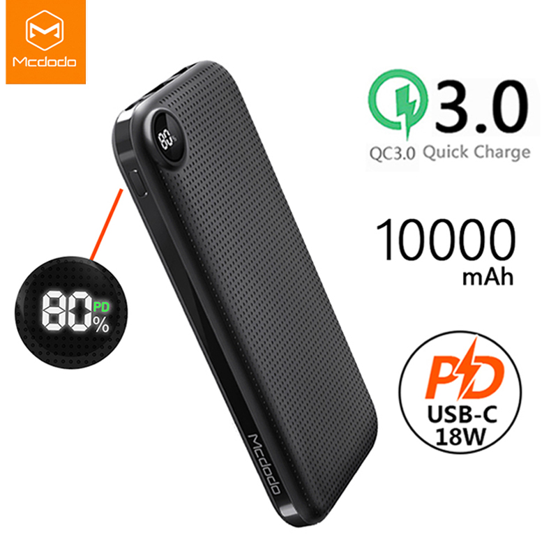 Mcdodo USB Type-C PD 18W Power Bank 10000mAh QC 3.0 Fast Charge External Battery For Xiaomi IPhone LED Display Portable Charger
