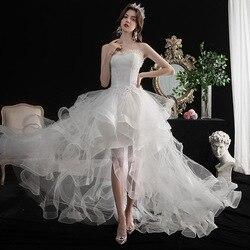 Wedding Dress Elegant Strapless Front Short Back Long Lace Up Princess Luxury Lace Plus Size Wedding Dresses Vestido De Noiva