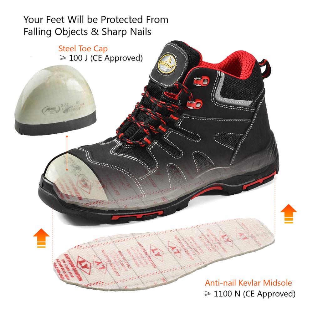 Safetoe Safety Shoes Steel Toe Cap Summer Breathable Lightweight Anti-Smashing Stab-Resistant Boots Casual Site Shoes Gift