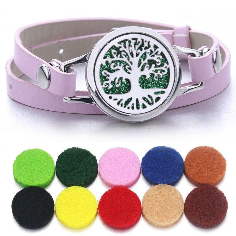 Pink Aroma Diffuser Bracelet Aromatherapy Essential Oil Diffuser Locket Bracelets Adjustable Genuine Leather Wrap Bracelet Women(China)