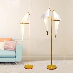 Led pássaro lâmpada de assoalho papel casa deco moderno ouro pé lâmpada quarto sala estar origami luz do assoalho estudo leitura ao lado da lâmpada