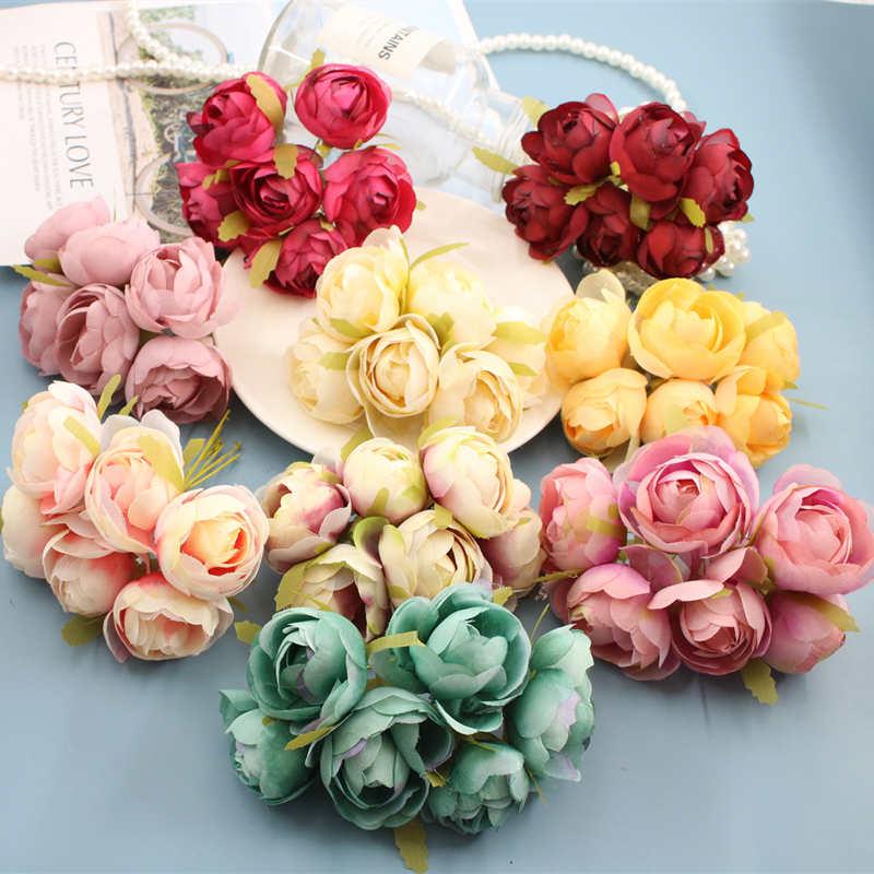 Marigold 6pcs Bunch 4cm Mini Daisy Flower Bouquet Artificial Flower Wedding Decoration Diy Craft Home Decoration Accessories Leather Bag