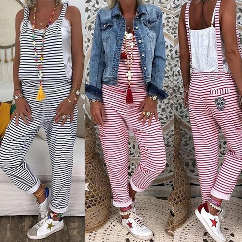 New Style Hot Selling European And American Women's Striped Backless Pants Onesie Om8986