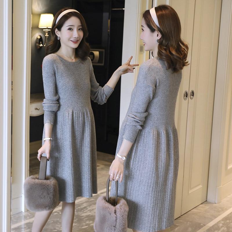 Envsoll Maternity Dress For Pregnant Women Autumn 2019 Sweater Long Paragraph Female Korean Loose Dress Maternity Clothes