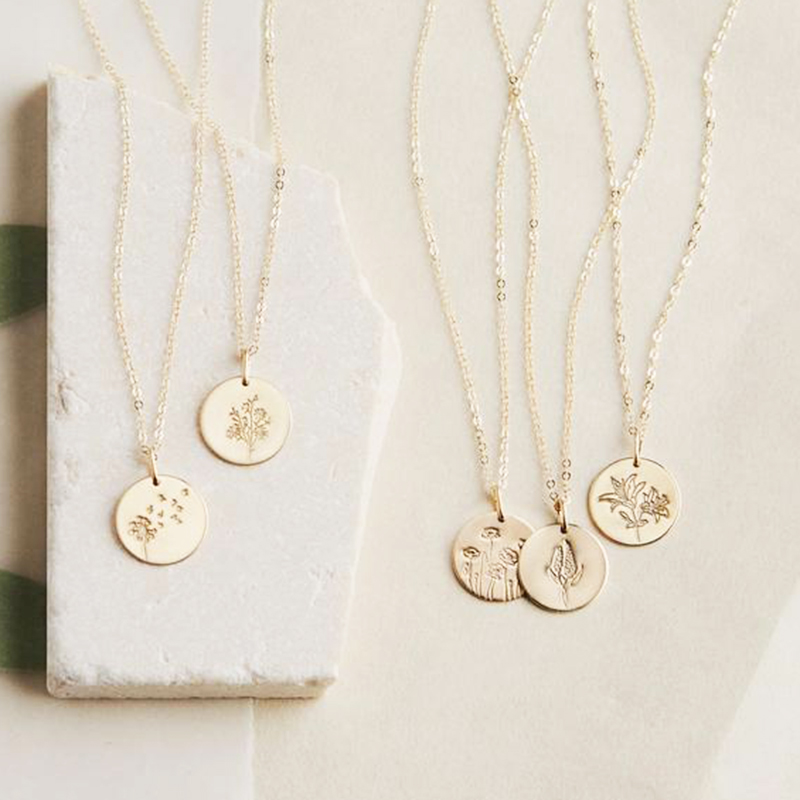 Flowers Necklace Birthday Jewelry Handmade13MM/16MM Coins Choker Gold Filled Pendants Collier Kolye Jewelry Boho Necklace