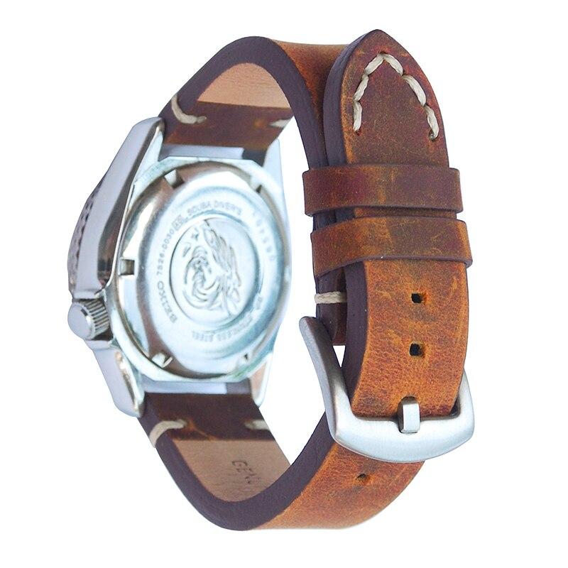 Handmade Vintage Crazy Horse Skin 18mm 20mm 22mm 24mm Leather Watch Band Straps WatchBands