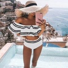 Moda femminile Plus Size Bikini a vita alta Set 2021 Sexy costumi da bagno monospalla costume da bagno donna volant costumi da bagno da bagno Set S-XL