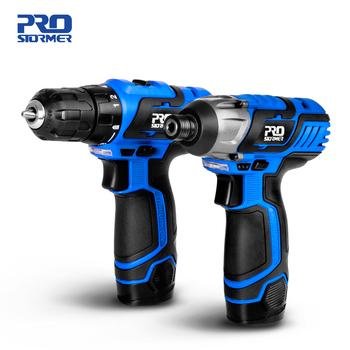 12V elektryczny wkrętak bezprzewodowy wiertarka 100NM Torque wiertarka elektryczna mini wiertarka ręczna bezprzewodowe elektronarzędzie przez PROSTORMER tanie i dobre opinie Cordless Drill Domu DIY 50 60 HZ 100nm 25nm Woodworking Household PTET1000 PTET1001 1 2kg 12 v 10MM 6 35MM 1200 rpm blue electric drill