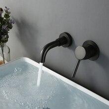 현대 15 cm 알바 매트 블랙 작은 수도꼭지 씻어 분지 탭 욕실 벽 마운트 스위치 수도꼭지 핫 콜드 라운드 도매 브래스 경감 님이