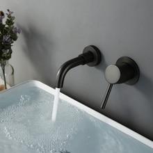 Grifo pequeño Alba de 15 Cm para baño, montaje en pared, redondo, frío y caliente, negro mate, venta al por mayor