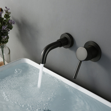 Modern 15 Cm Alba Matt Black Small Faucet Wash Basin Tap Bathroom Wall Mount Switch Water Faucets Hot Cold Round Wholesale Brass