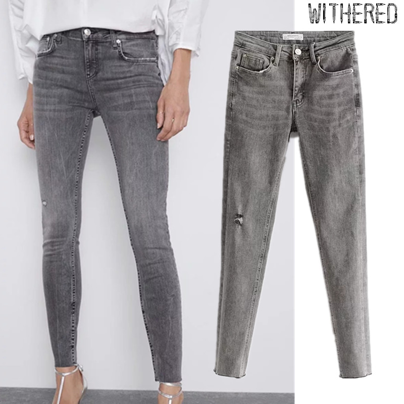 Withered England Style Simple Gray Color Jeans Woman Medium Waist Jeans Ripped Jeans For Women Supper Skinny  Jeans JUMPSUITS