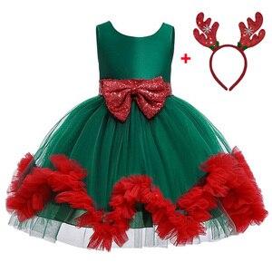 2019 New Kids Christmas Dress For Girls Costume Children Evening Party Dress Birthday Green Red Tutu Princess Dress 6 8 10 Year(China)