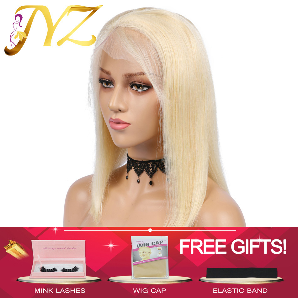 Glueless 613 Blonde 13x4 Lace Front Human Hair Wigs Bob Brazilian Straight Lace Front Wig Pre Plucked Remy Lace Wigs For Black image