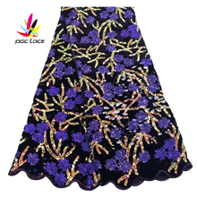 2019 African Velvet Fabric Lace Sequence Fabrics Best Quality Purple Velvet Lace Fabric with Sequins for Nigerian Wedding NI2400 purple velvet