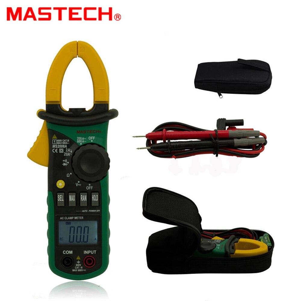 Ohmímetro com Luz de Fundo Mastech Digital Braçadeira Medidores Amperímetro Voltímetro Lcd 600a Tensão Atual Testador Ms2008a