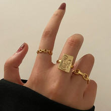 Modyle 2021 New Fashion Vintage Bohemian Face Shaped Knuckle Joint Rings Set For Women Gold Color Finger Rings Jewelry