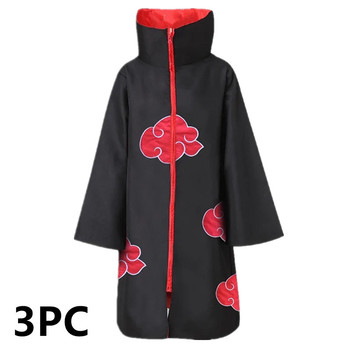 3PC Kids & Adults Naruto Costume Akatsuki Cloak Cosplay Sasuke Uchiha Cape Cosplay Itachi Halloween Party Supplies