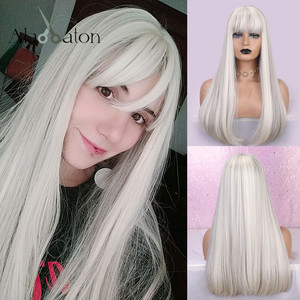 ALAN EATON Synthetic Hair Long Straight Green White Blown Blonde Ombre Full Head Wigs Women High Temperature Fiber With Bangs(China)