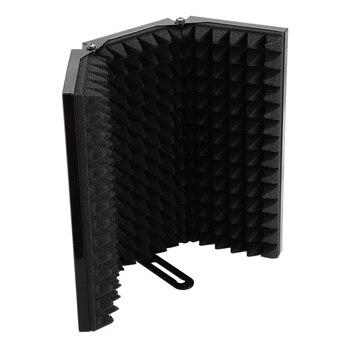 Absorvedor De Som De Gravação Do Microfone Escudo De Isolamento Anti-Ruído 3-Fold Design De Alta-Densidade Da Espuma Do Painel, Para O Equipamento De Gravação De S