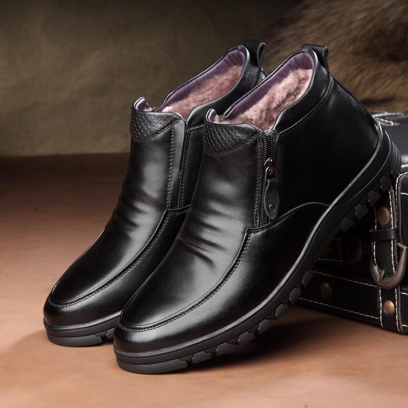 Genuine Leather Men Boots Winter Ankle Boots Fashion Footwear Shoes Men Business Casual High Top Men Shoes Zapatos De Hombre