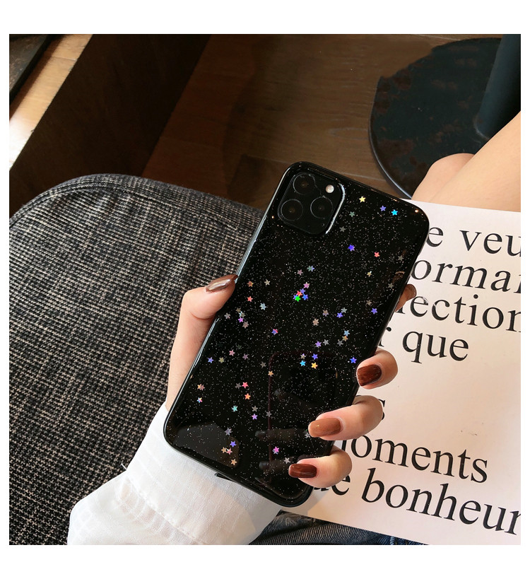 H50d4d95cf0c7450c8427a35c04a8f765C - GIMFUN Star Bling Glitter Phone Case for Iphone 11 Pro Max Clear Back Love Heart tpu Case Cover for Iphone Xr X 7 6 8 Plus 5s SE