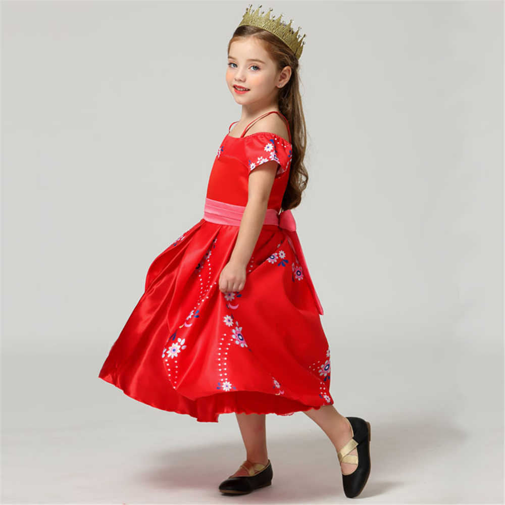 אלנה אדום של Avalor רויאל כדור שמלת נסיכת תלבושות לילדים אחד-צוואר בנות מקסי שמלות מסיבת בגדים ללא שרוולים girld שמלה