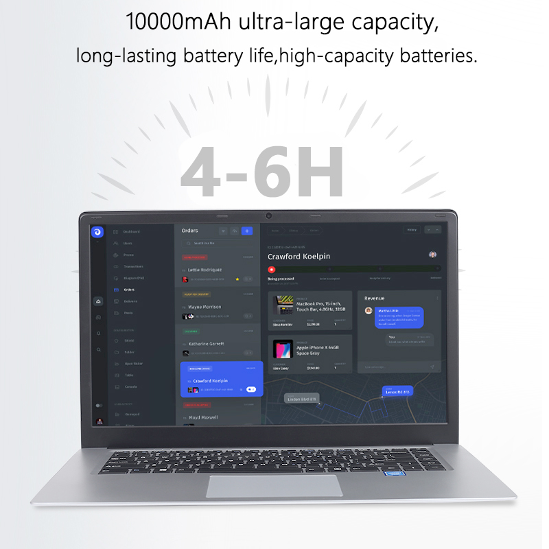 15.6 inch Student Laptop 8GB RAM DDR4 256GB/512GB SSD Notebook intel J3455 Quad Core Ultrabook With Webcam Bluetooth WiFi