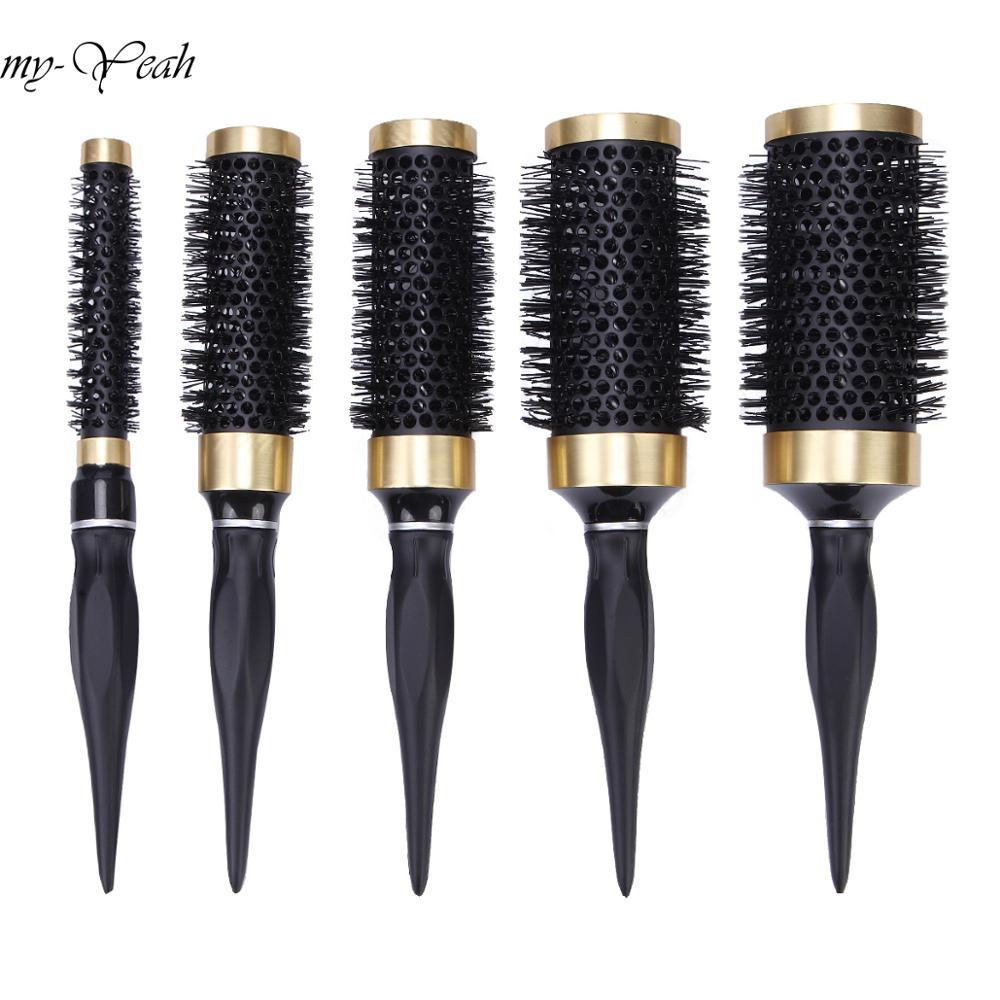 5 Size Ceramic Iron Hair Brush Anti-static High Temperature Resistant Round Barrel Comb Hairstyling Drying Curling Tool