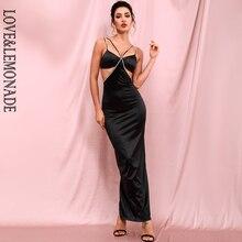 LOVE & LEMONADE Sexy Black Cut Out Bodycon Rhinestone Top Beads Whit Split Party Maix Dress