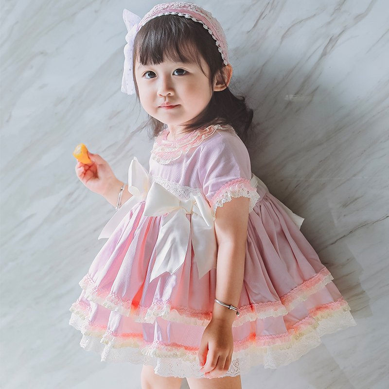 2019 Summer Arrivals Girls Spanish Court Dress Bow Lace Sweet Quality Princess Dress 1-6years Gilrs Party Dress Panty Hats 3pcs