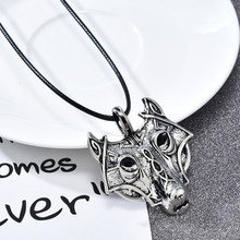 Fahison Punk Men Boy Retro Metal Wolf Animal Head Pendant Necklace Leather Long Necklace Jewelry Gift(China)