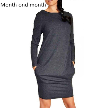 Round Neck Long Sleeve Tight Mini Dress Ladies Spring and Autumn Sexy Sports Style Dress 3 Colors Bodycon Slim Yellow Clubwear 2019 autumn new european and american women s personality stitching ruffled long sleeved round neck slim bag hip dress