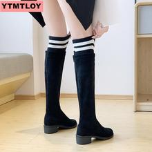 2020 women in knee high boots hoof high heels winter shoes pointed toe black sexy elastic fabric boots round head thick with knight boots 17cm high heels autumn and winter sexy waterproof straps with rome slope with boots increased in the women s shoes