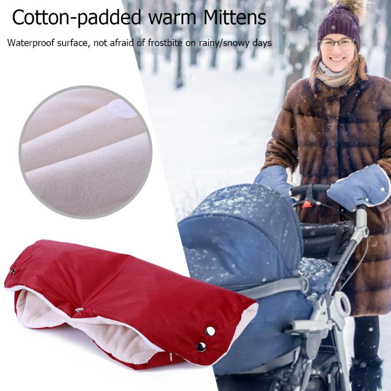 Winter Warmer Stroller Gloves Newborn Baby Pushchair Hand Muff Windproof Gloves Waterproof Fleece Pram Accessories Dropshipping