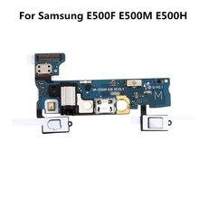 كابل شحن مرن لهاتف Samsung Galaxy E5 E500 E500F E500M ، مقبس سماعة رأس ، ميكروفون ، منفذ USB ، قاعدة مقبس