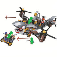 2019 NEW Age Of Steam Creator Pirate Shark Airship Building Blocks Sets Bricks Classic Steampunk Model Kids Toys
