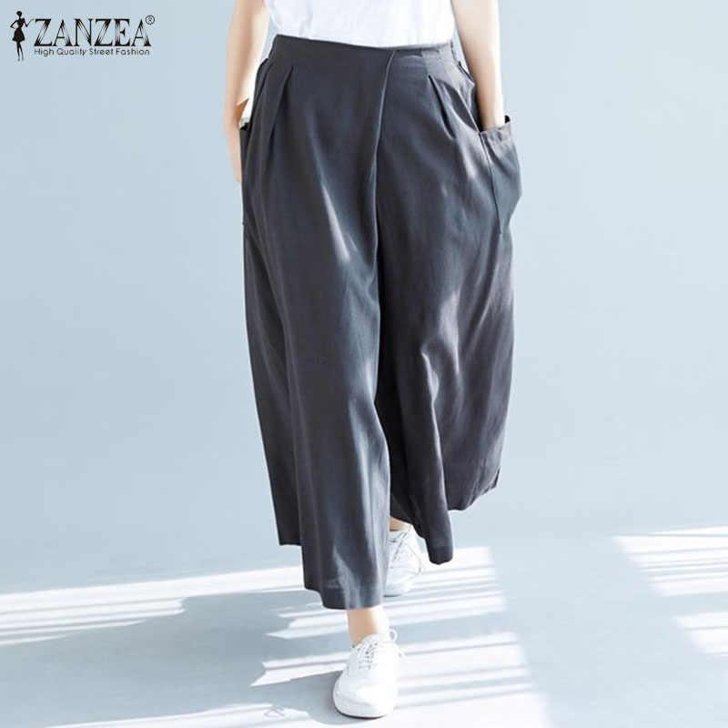 Zanzea Delle Donne Pantaloni 2020 di Modo Elastico in Vita Pantaloni Larghi Del Piedino Pantaloni Lunghi Delle Signore Casual Solido Sciolto Tasche Pantalones Streetwear