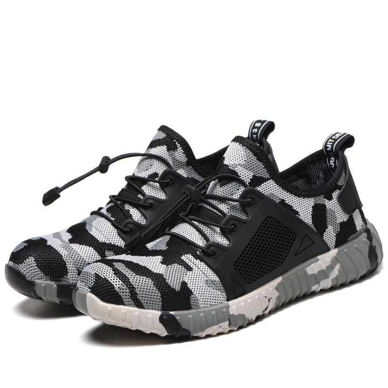נשים וגברים פלדה הבוהן עבודת בטיחות נעלי מזדמנים לנשימה חיצוני סניקרס לנקב הוכחה מגפי נוח נעלי תעשייתית