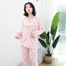 Женский хлопковый Пижамный костюм рубашка и штаны комплект для